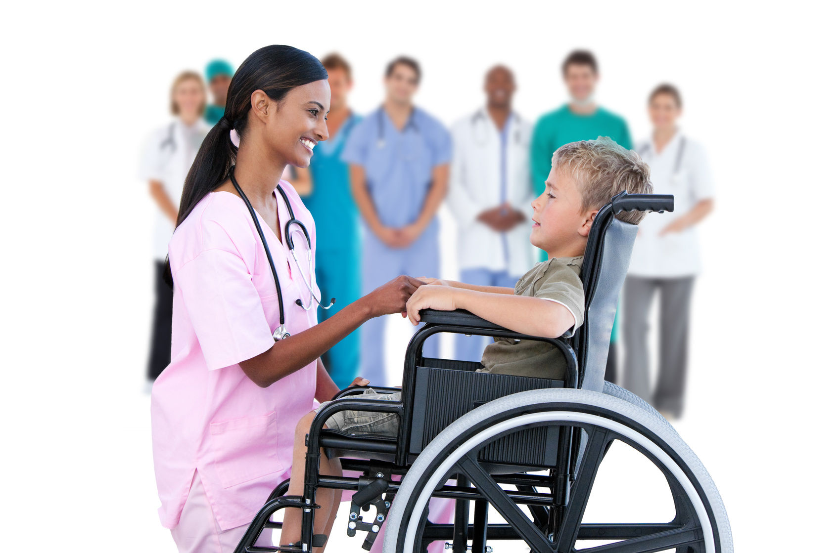 Nurse and boy in a wheelchair