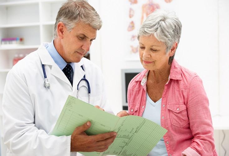 Doctor talking to older woman