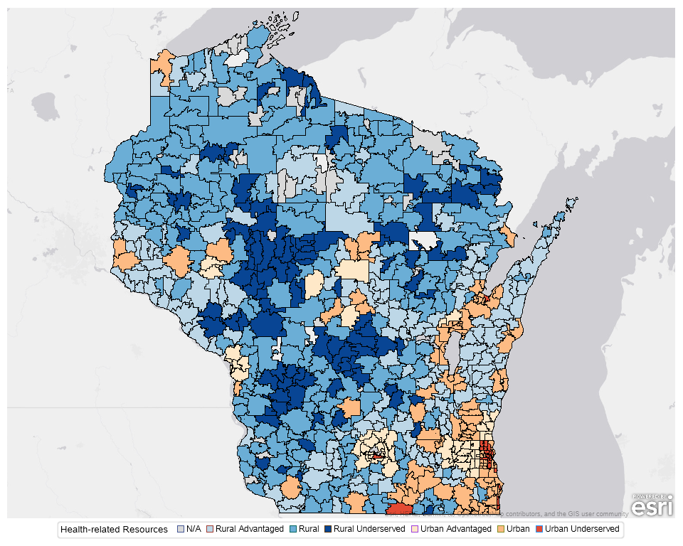 WCHQ 2020 Wisconsin Health Disparities Report Map