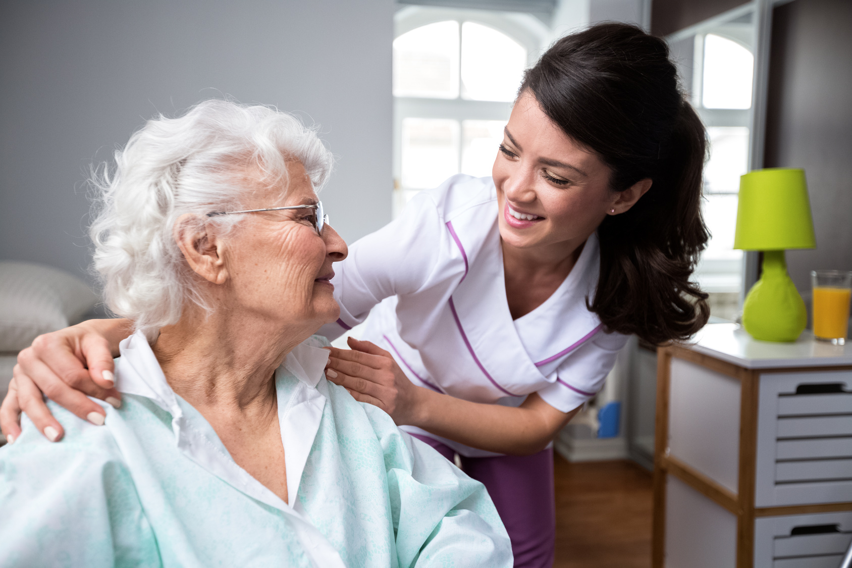 Patient and nurse at skilled nursing facility