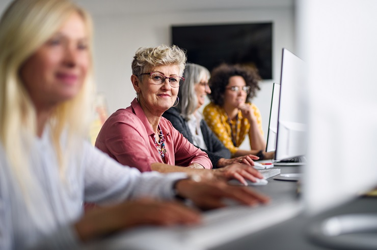 Senior women in classroom
